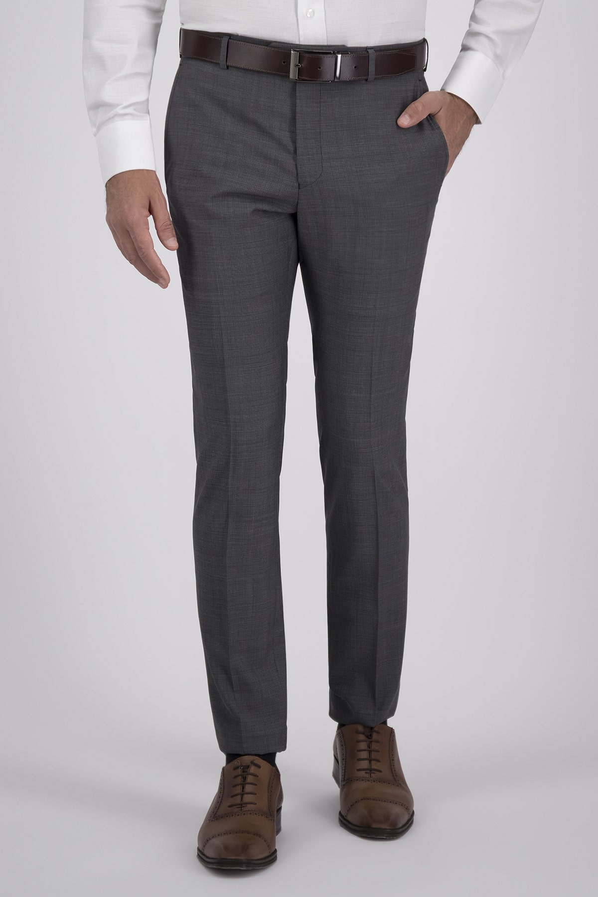 Pantalón Vestir High Life con tejido 100% Lana Gris, Corte Slim