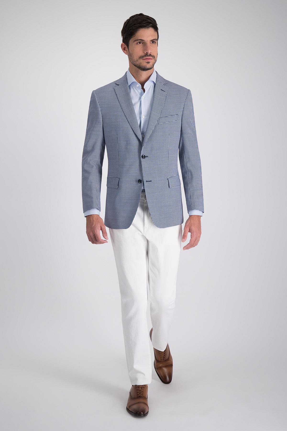 Saco de Marca Calderoni con tejido lana azul pied de poule