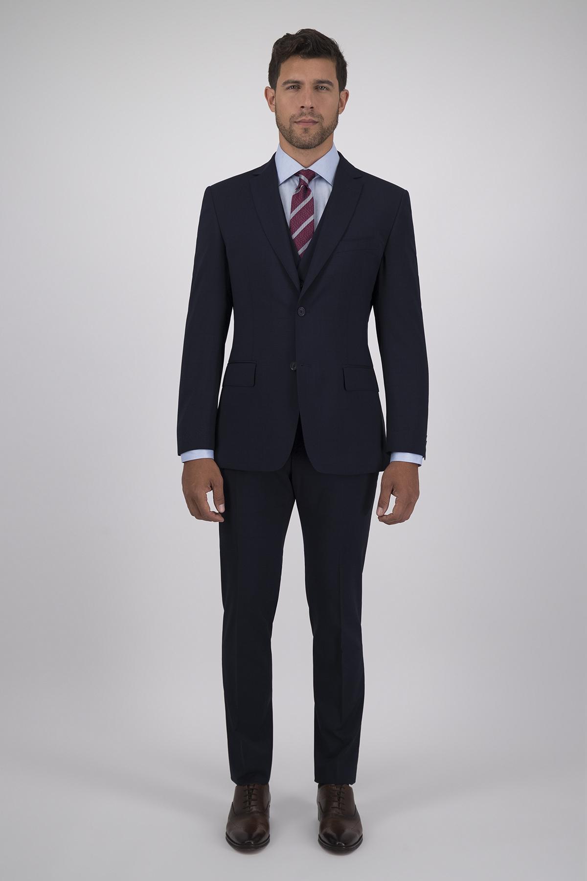 Traje Calderoni Azul Principe de Gales con Tejido super 130´s Corte Slim, 2 Piezas.