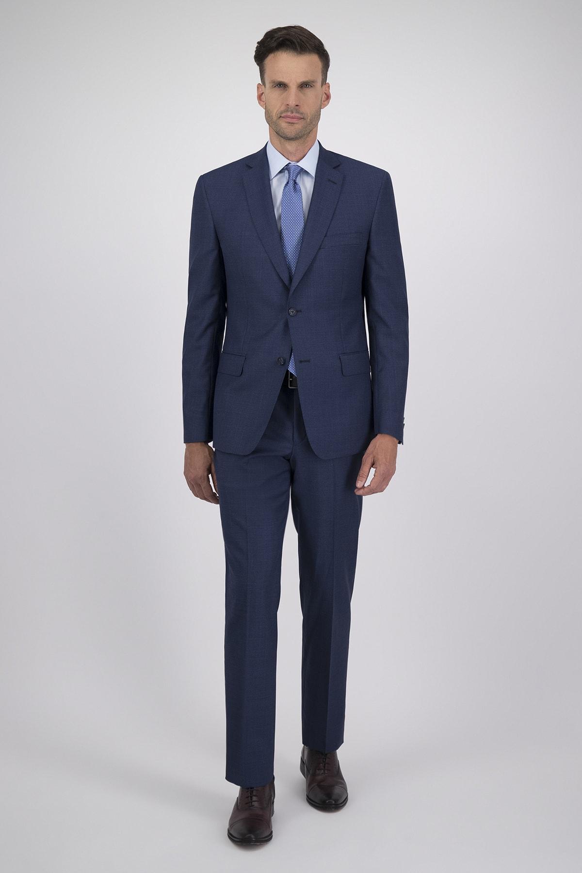 Traje corte Regular tejido Cloth Ermenegildo Zegna azul tipo Príncipe de Gales