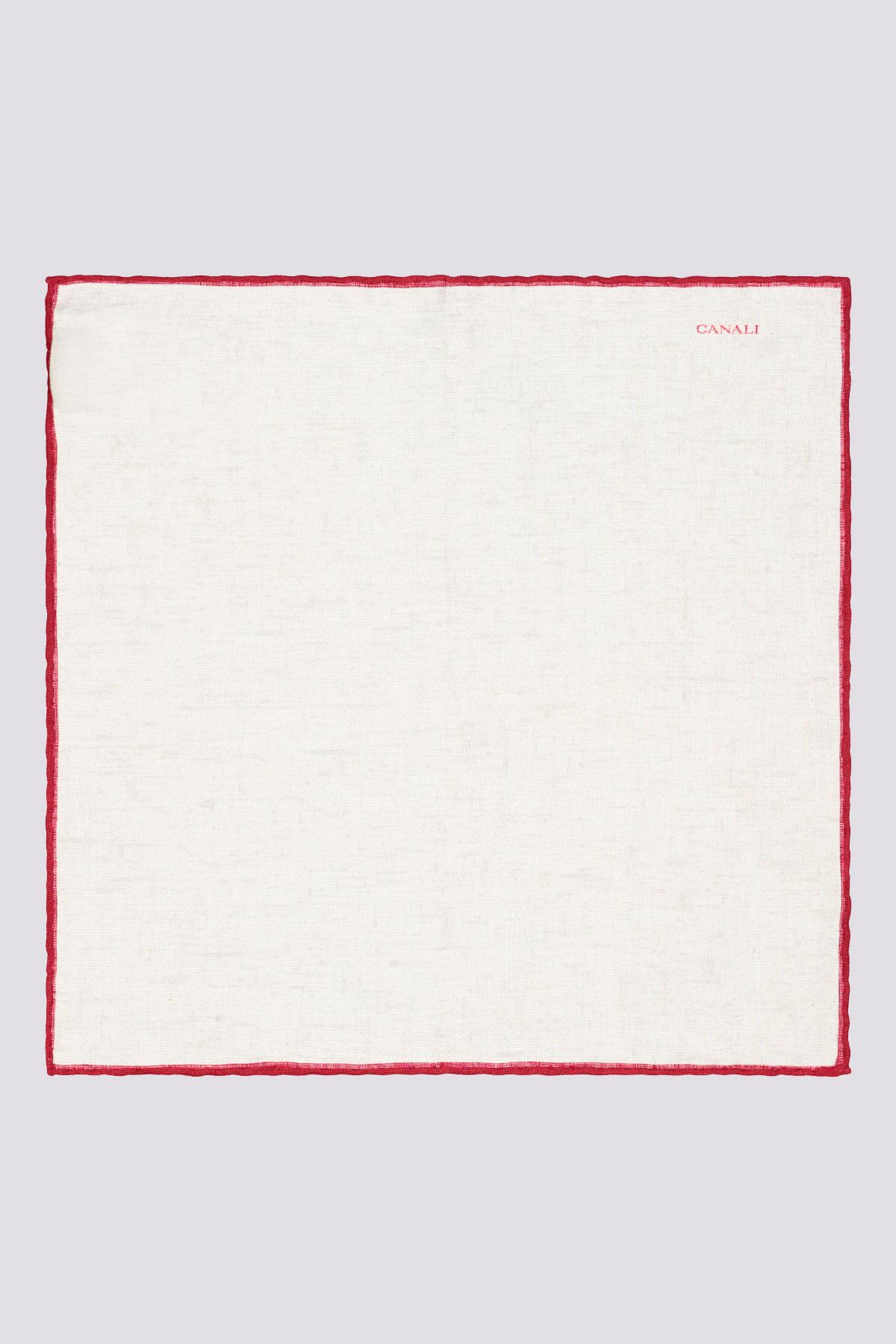 Pañuelo blanco marca CANALI con ribete de color