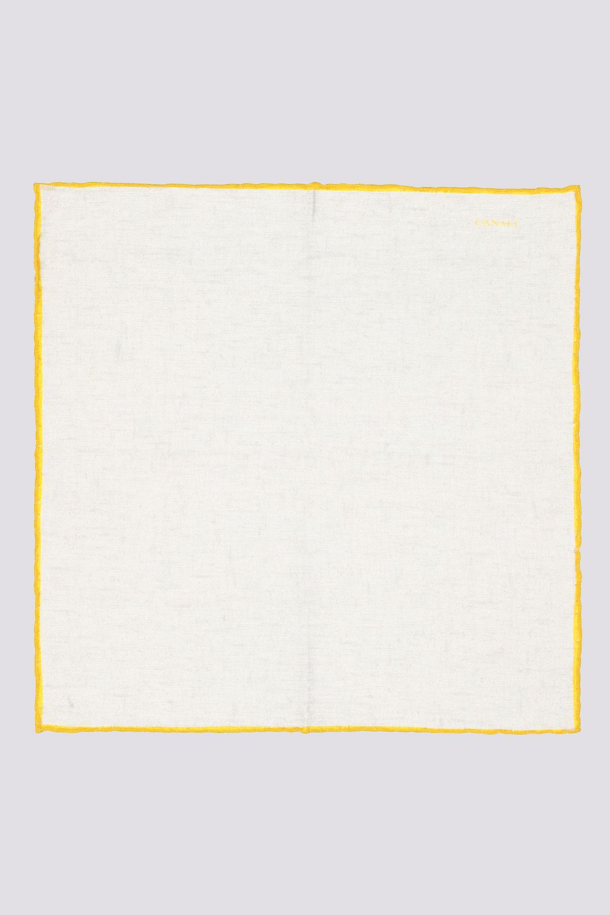Pañuelo blanco marca CANALI con ribete de color a contraste
