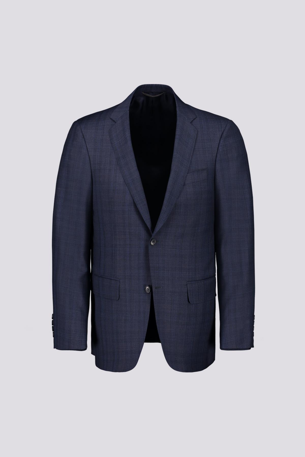 Traje recto marca Canali color azul cobalto medio con cuadro ventana