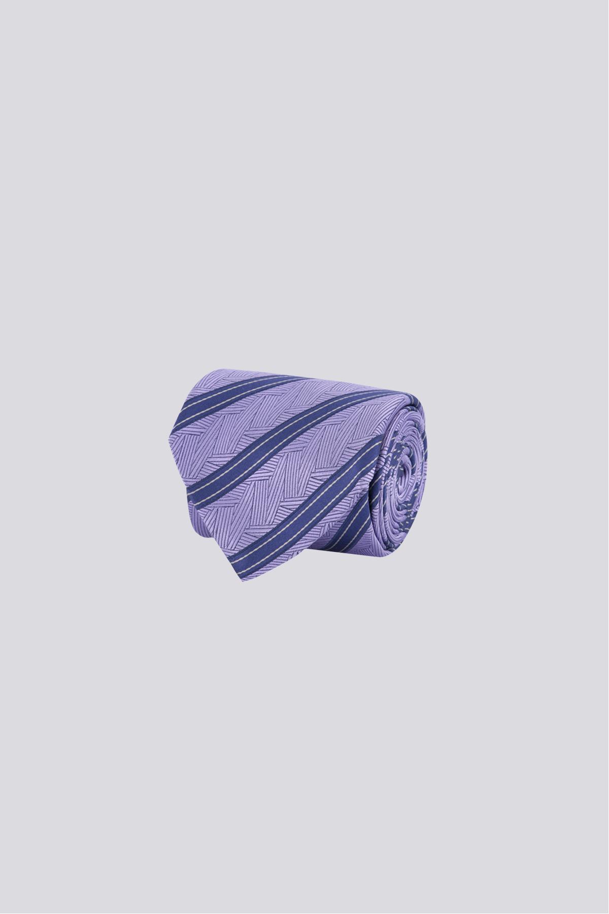 Corbata de seda marca CANALI Morada con rayas diagonales