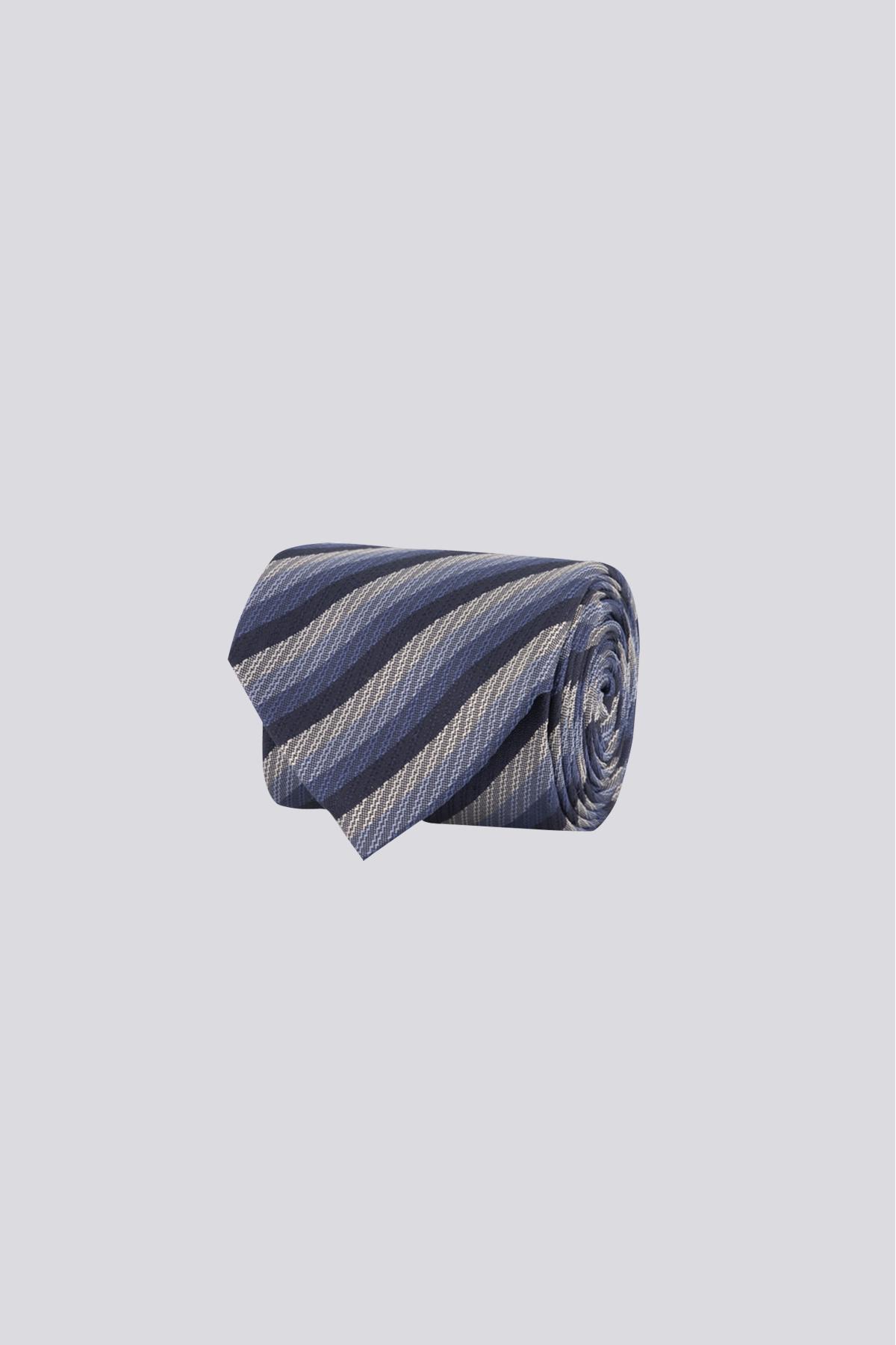 Corbata de seda marca CANALI azul indigo con rayas diagonales