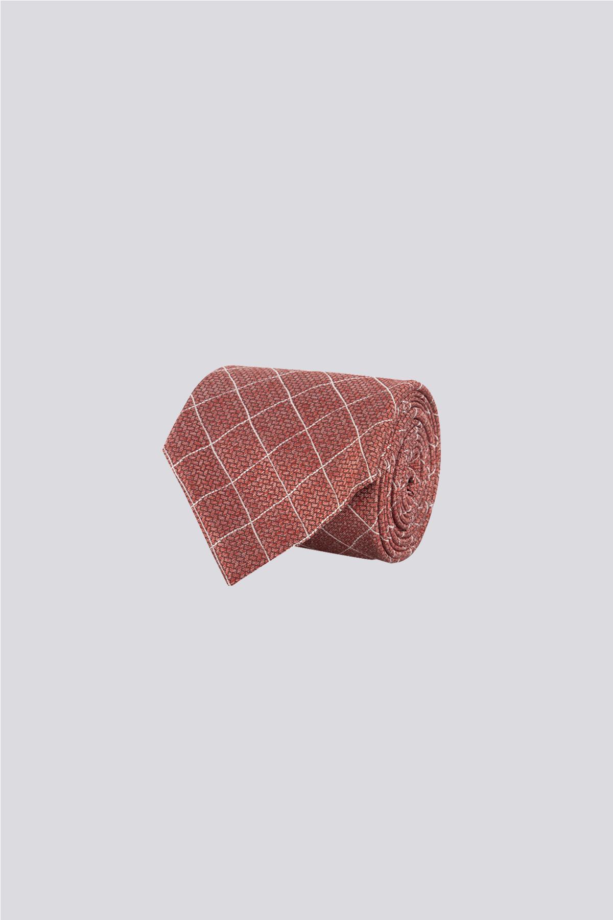Corbata de seda marca CANALI rojo obscuro con rombos
