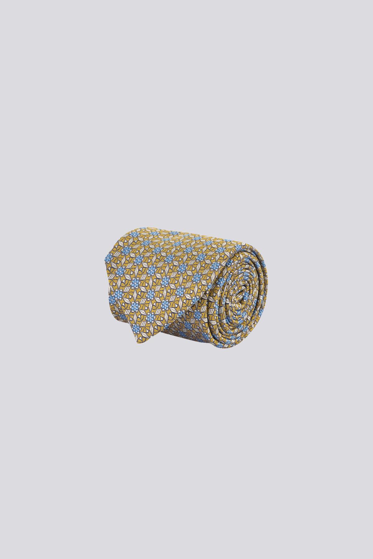 Corbata de seda marca CANALI con patrones geometricos a contraste