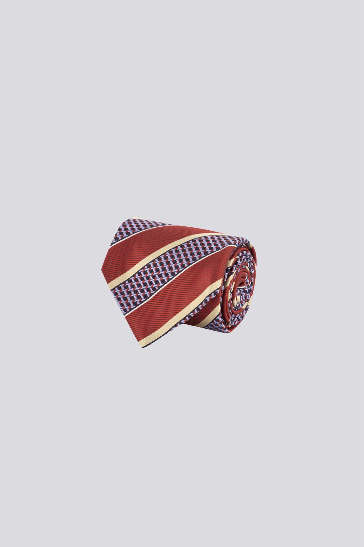 Corbata de seda marca CANALI rojo brillante con rayas a contraste