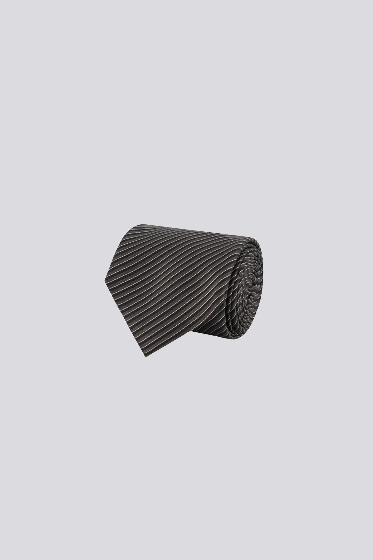 Corbata de seda marca CANALI negro con rayas a contraste