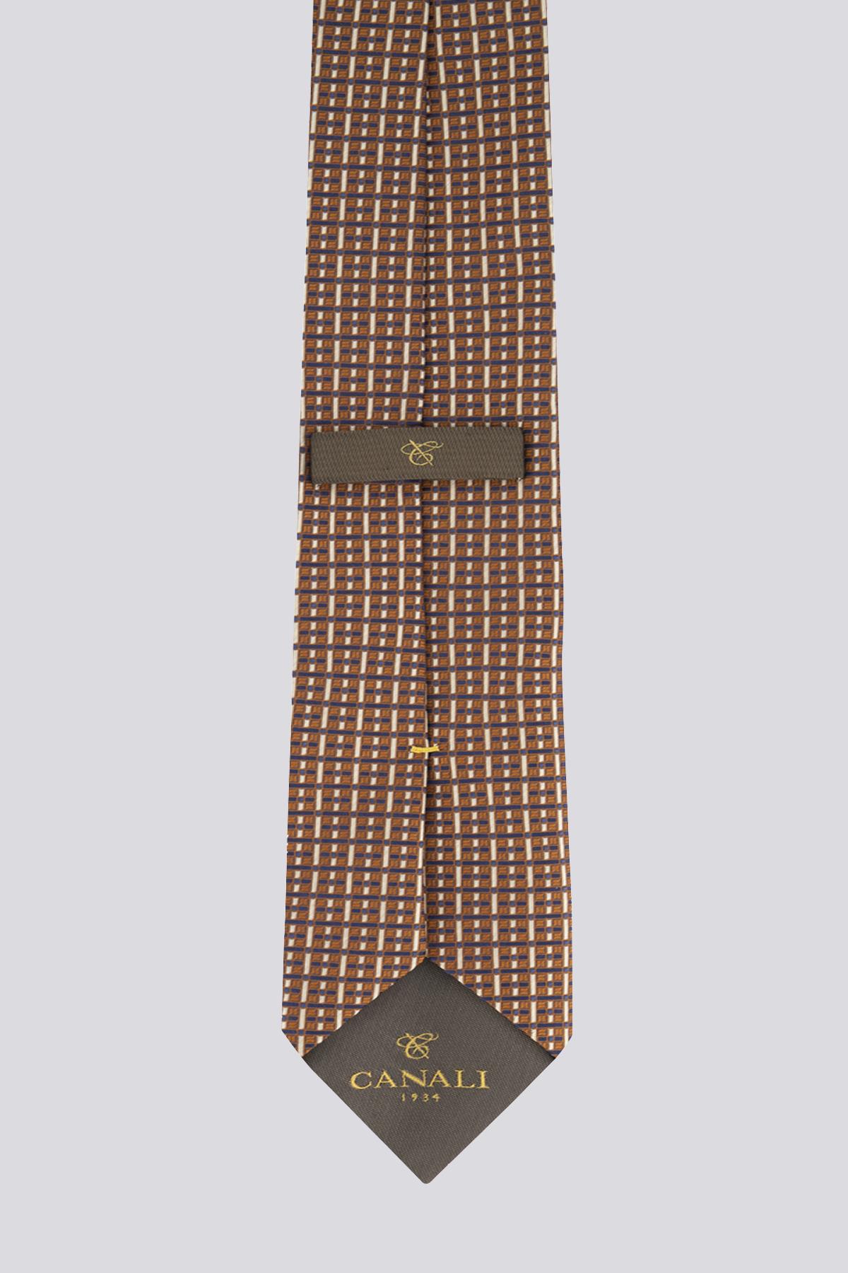 Corbata de seda marca CANALI color naranja con diseño a cuadros