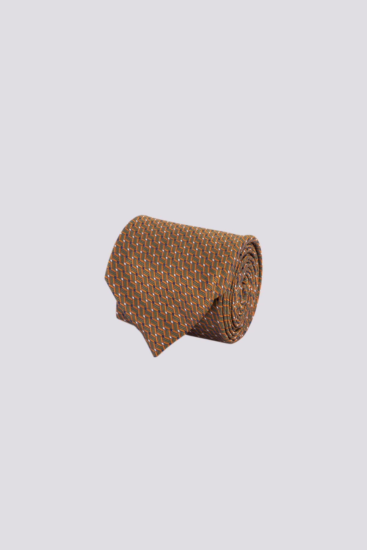 Corbata de seda marca CANALI con patrones geometricos color café