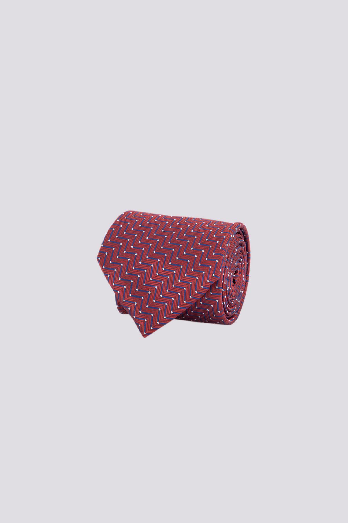 Corbata de seda marca CANALI color vino con moderno diseño