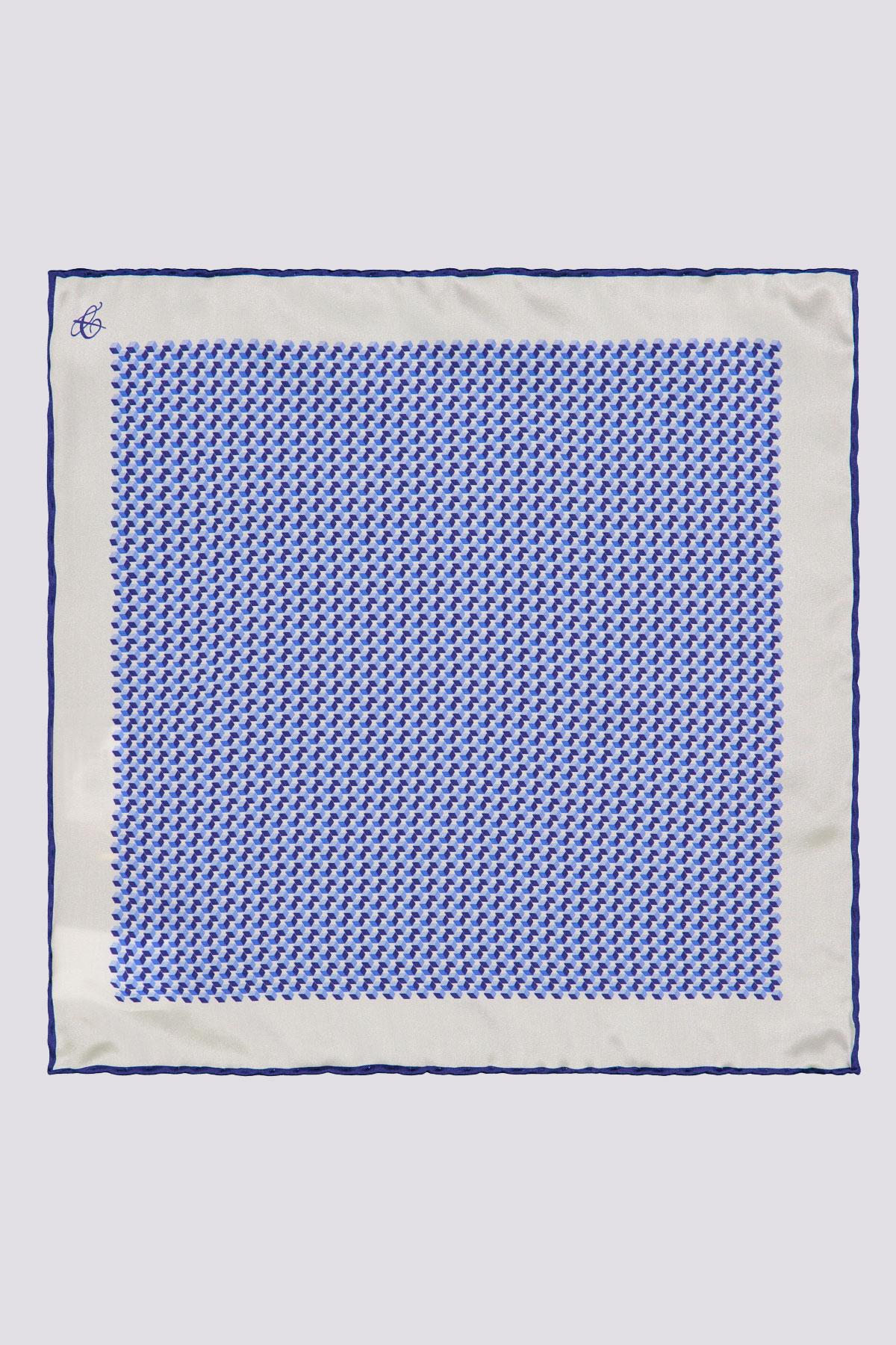 Pañuelo de Seda marca CANALI con dibujo al centro color azul y marco blanco