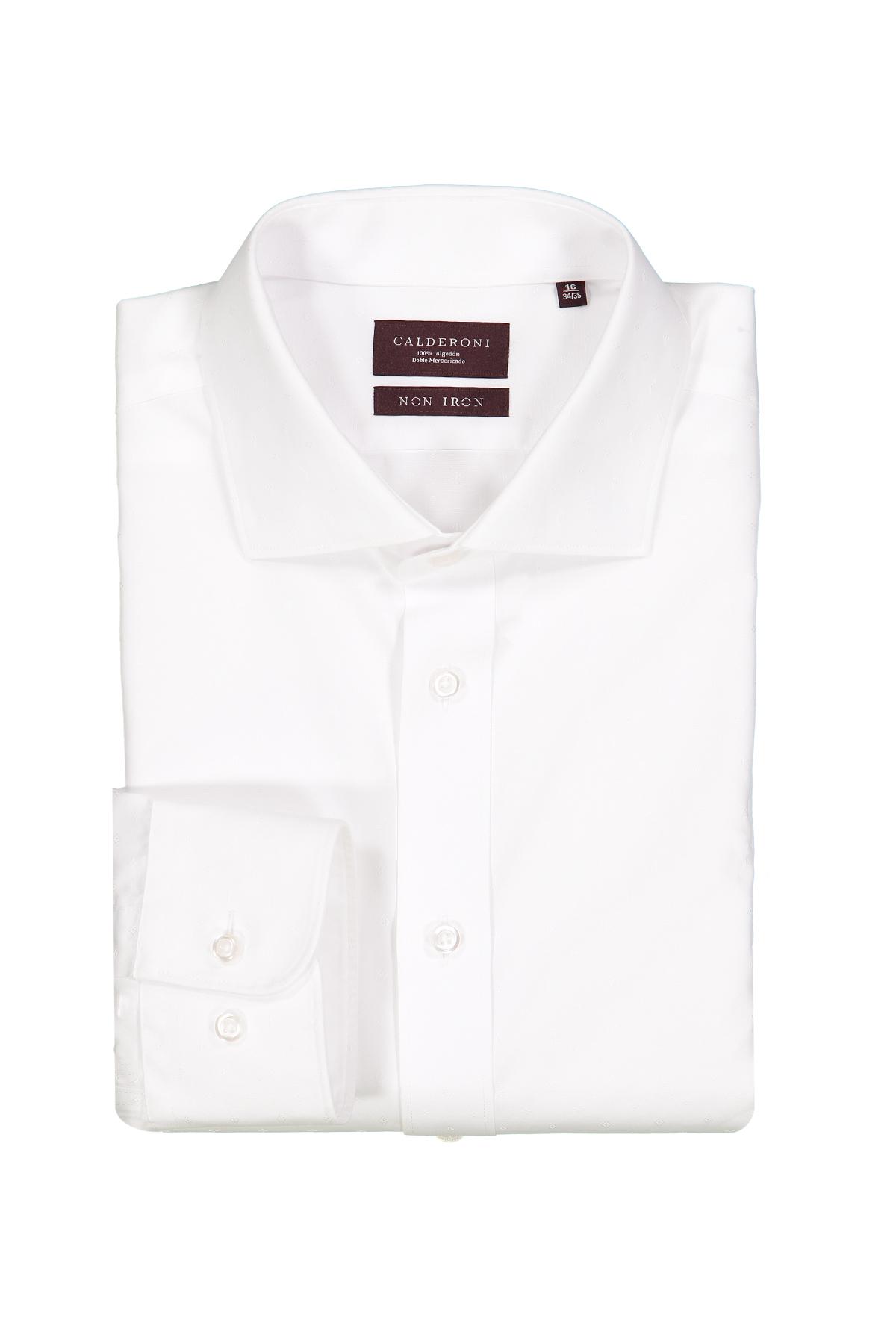 Camisa Calderoni -Non Iron DP4- jacquard blanco liso.