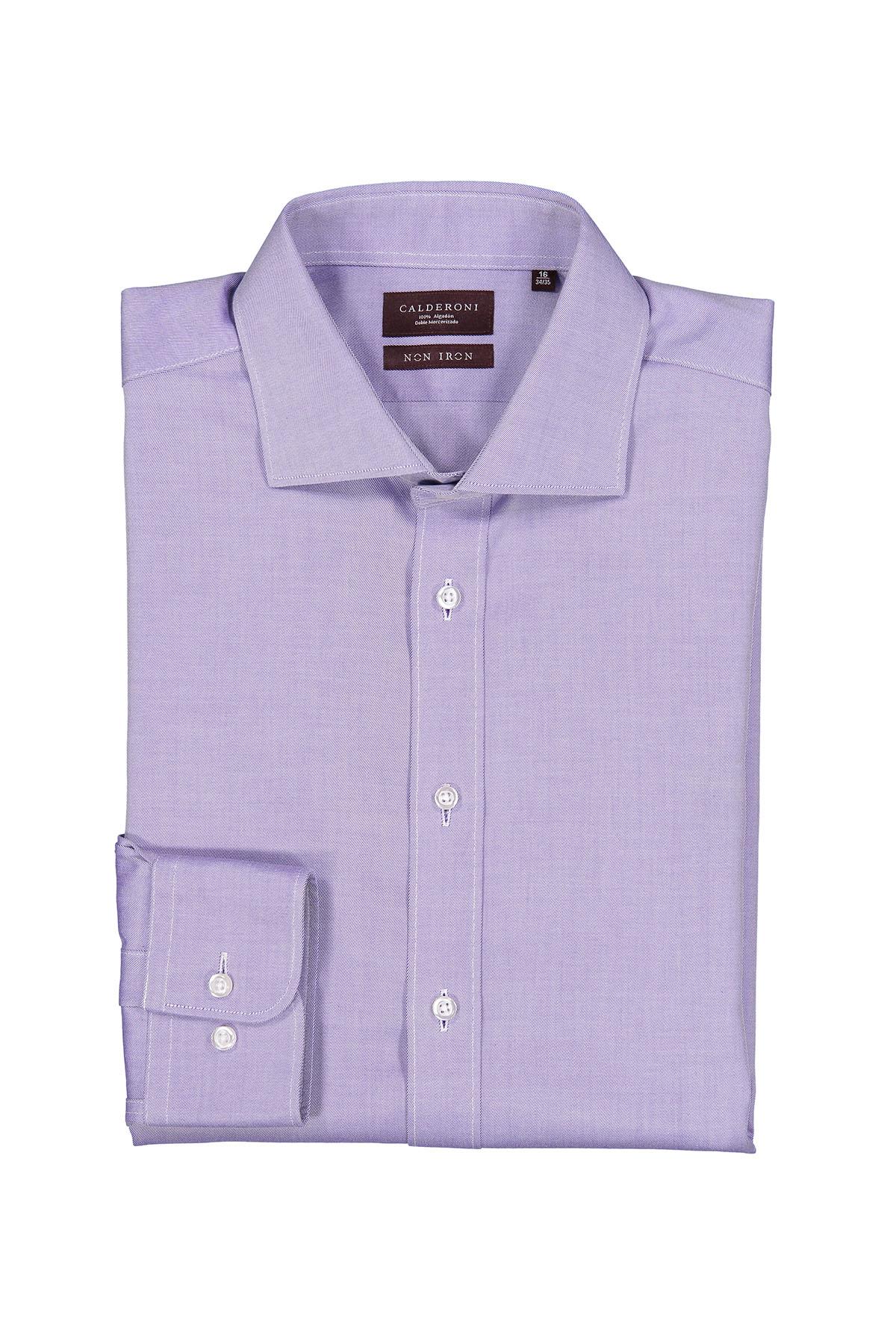 Camisa Calderoni -Non Iron 24/7- twill color morado.