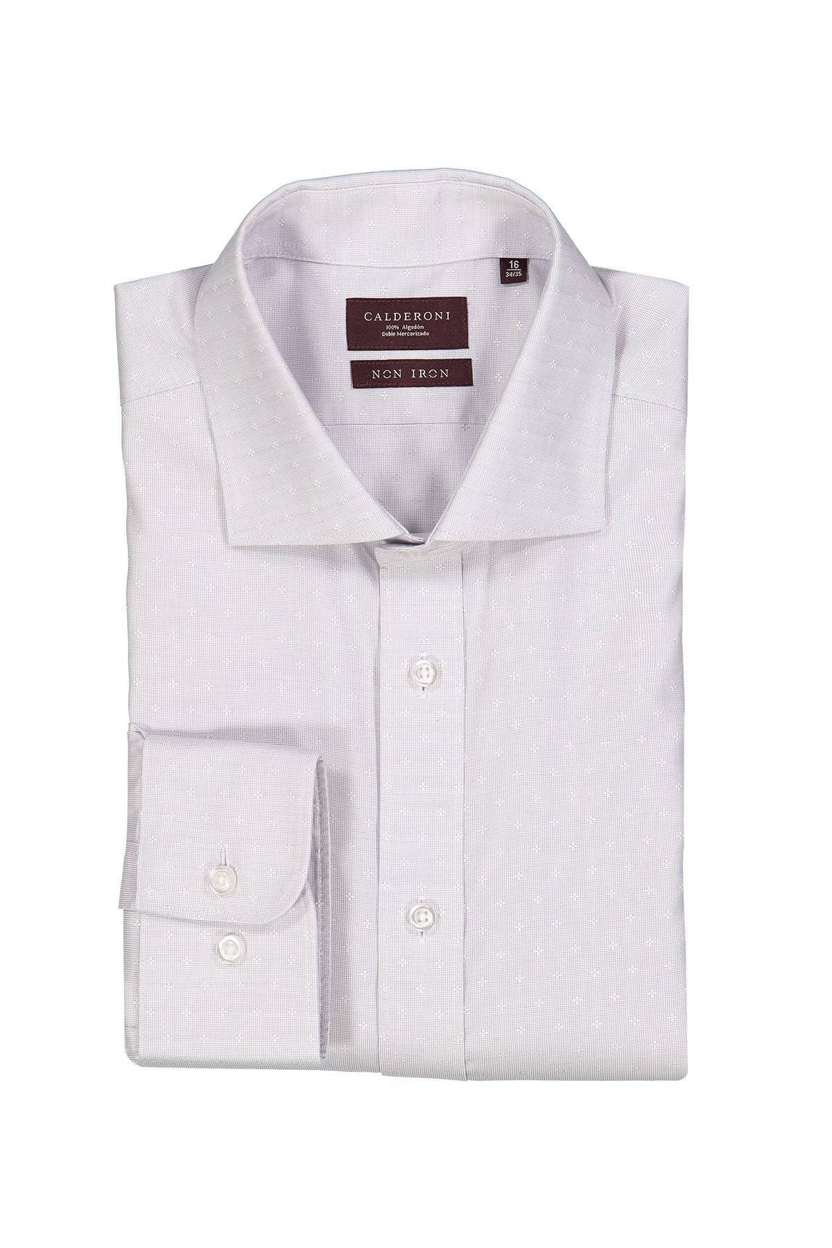 Camisa Calderoni -Non Iron DP4- fil a fil gris con fantasía.