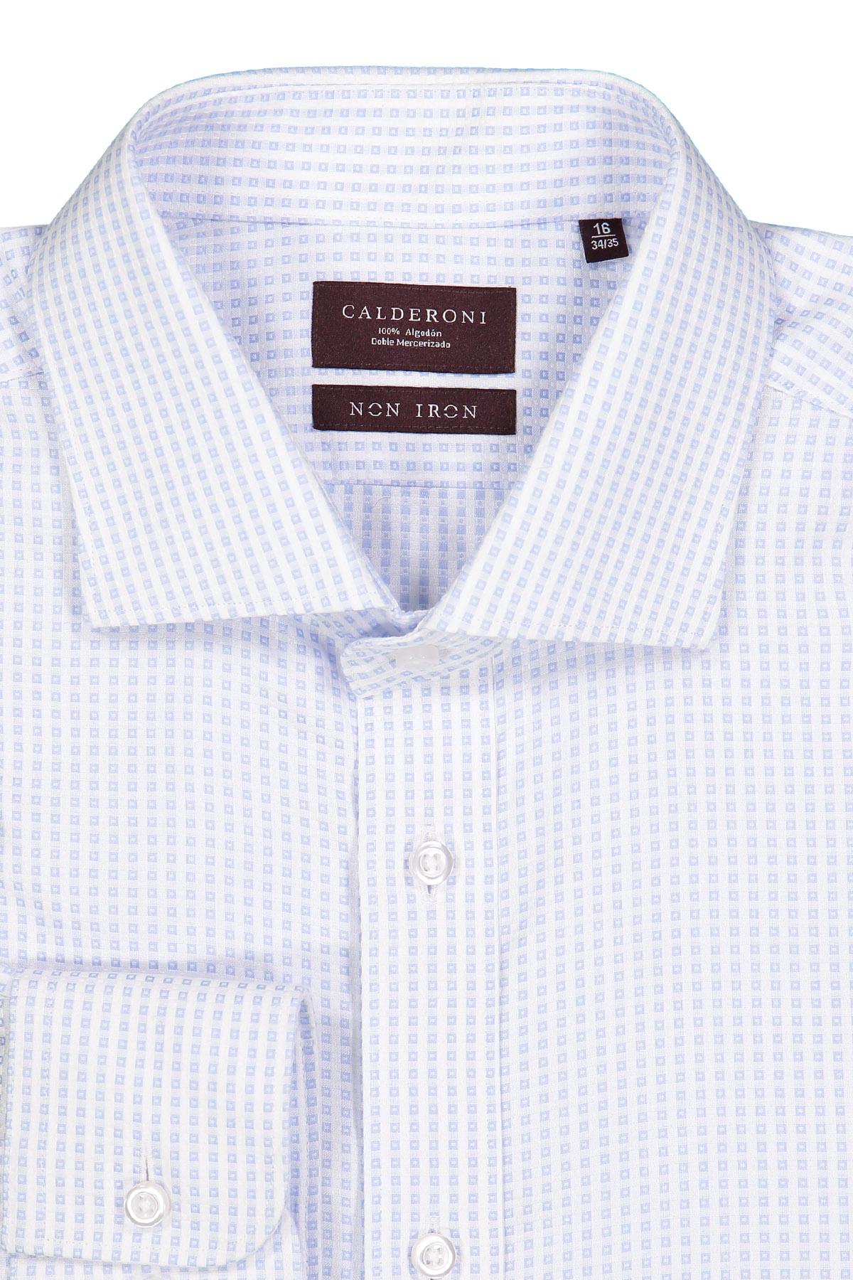 Camisa Calderoni -Non Iron DP4- blanca con cuadros celeste.