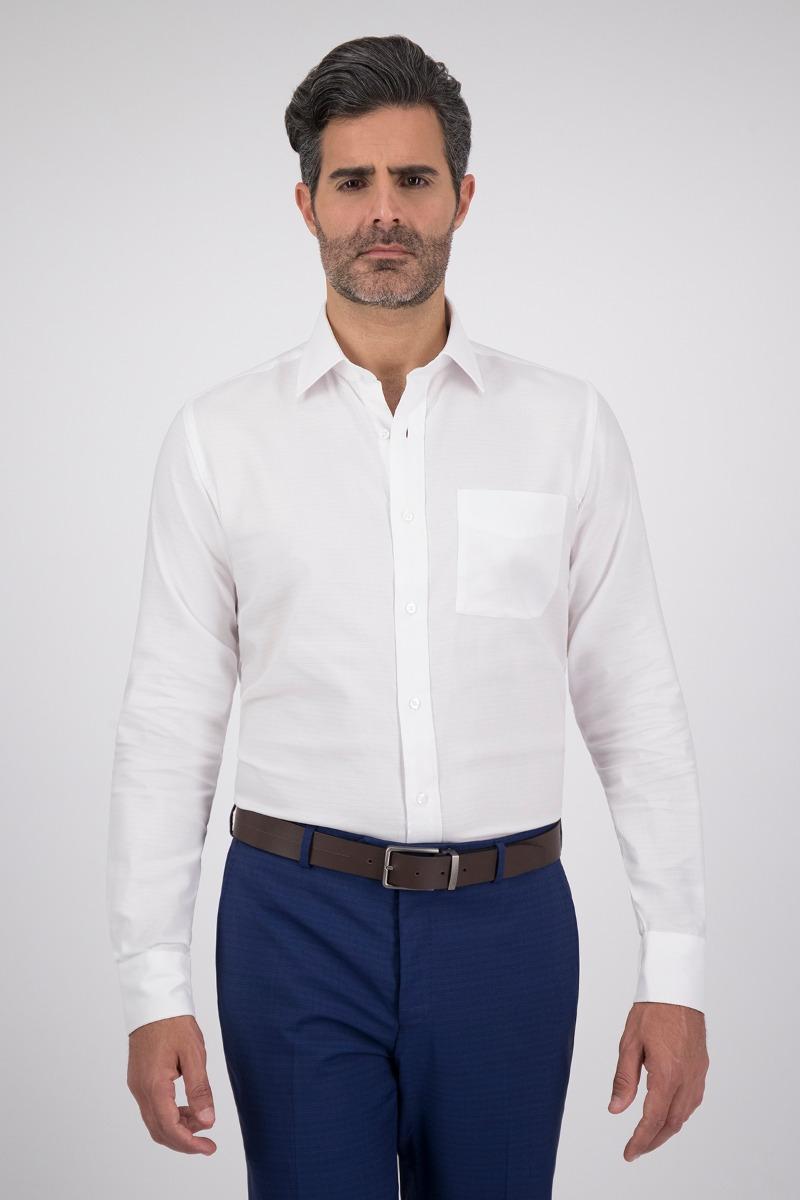Camisa Vestir HIGH LIFE tejido blanco, corte Regular 100% algodón