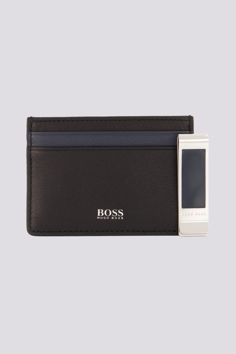 Set de regalo marca Boss, tarjetero y pinza para billetes